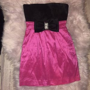 Dress rhinestone bow pink black Y2k cocktail mini